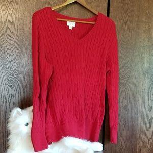 St. John's Bay  V neck red sweater